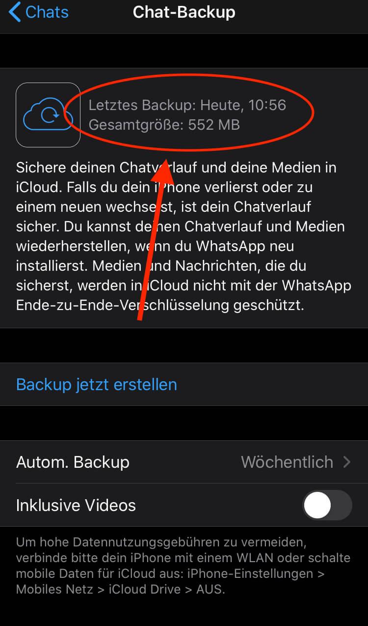 WhatsApp BackUp existiert